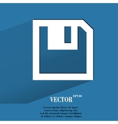 floppy disk Flat modern web button with long vector image vector image