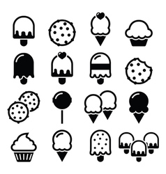 Food desserts icons - cupcake ice-cream cookie vector image vector image