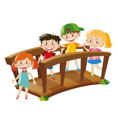 Four kids crossing wooden bridge vector