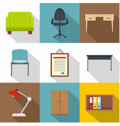 furniture shop icons set flat style vector image