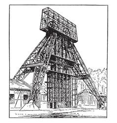 German steel mining headgear hoist tower vintage vector
