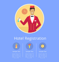 Hotel registration internet page with receptionist vector