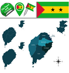Map of sao tome and principe with named districts vector