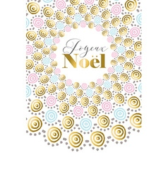 Merry christmas boho gold design in french vector