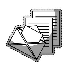 Monochrome contour sticker with envelope mail and vector