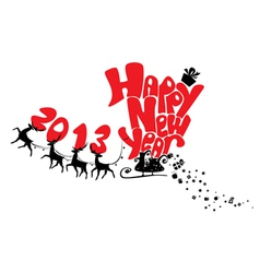 New Year card with flying reindeers 2013 vector image