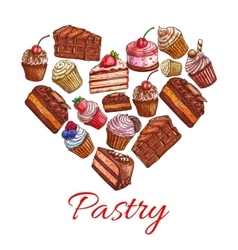 Pastry label in shape of heart with sweets icons vector