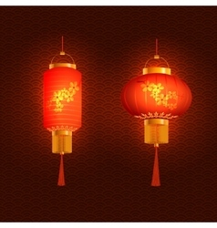 Set of red chinese lanterns round and cylindrical vector