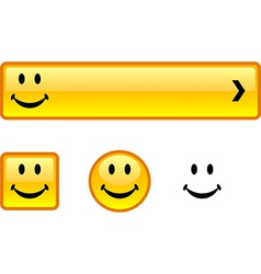 Smiley button set vector image