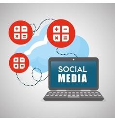 Social media design laptop icon networking vector image