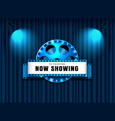 Theater sign film roll on curtain with spotlight vector
