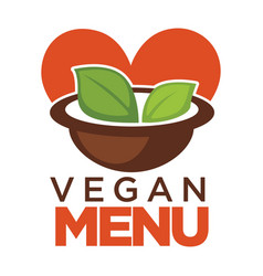 vegan menu promotional poster with bowl of soup vector image vector image