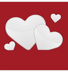 White hearts on a red background vector image vector image