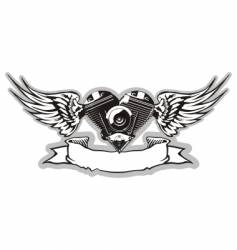 winged motorbike symbol vector image vector image