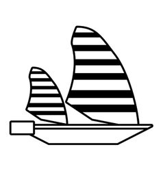 Outline sailing ship boat travel design vector