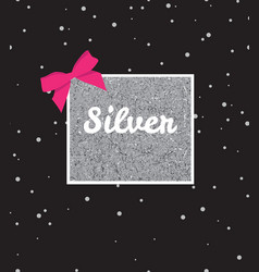 Silver background with sequins and pink bow on vector