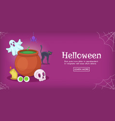haloween spooky horizontal banner cartoon style vector image