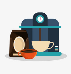 Coffee espresso machine and set porcelain cup with vector
