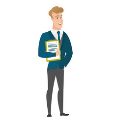 Groom holding clipboard with papers vector