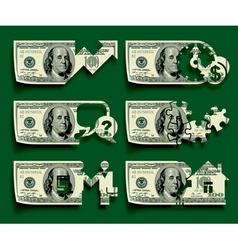 Dollars icons set vector