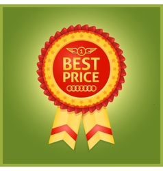 Best price red label on green vector image