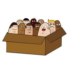 People in a box cartoon vector