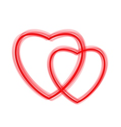 Two red hearts - contours vector