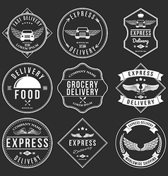 Express delivery label and badges design elements vector