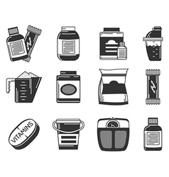 Black icons collection of sports nutrition vector