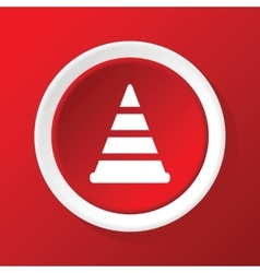 Traffic cone icon on red vector