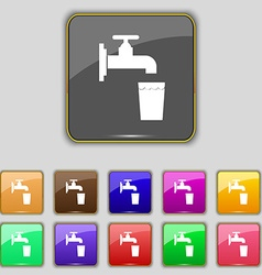 Faucet glass water icon sign set with eleven vector