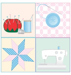 Sewing tools and crafts vector