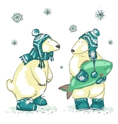 Funny polar bears vector