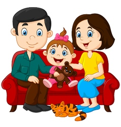 Happy family sitting on the red sofa vector