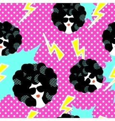Retro 80s disco party seamless pattern vector