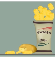 Pack of chips and glass vector
