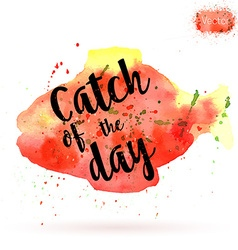 Watercolor card with fish and lettering vector