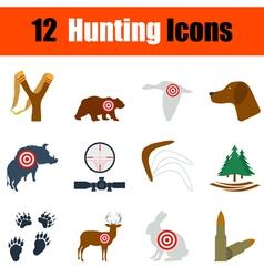 Flat design hunting icon set vector image