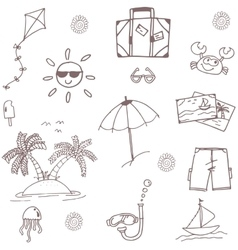 Beach doodle set holiday vector