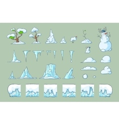 Winter tile set for platformer game seamless vector