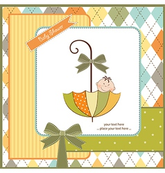 Baby shower card with umbrella vector