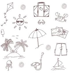 Beach doodle set holiday vector