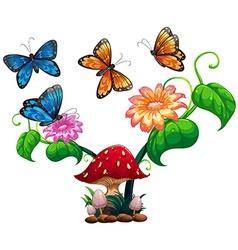 Butterflies flying around mushroom and flower vector image vector image