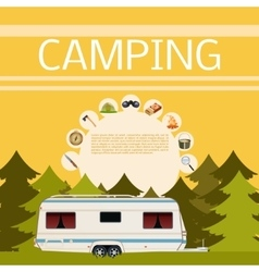 Camping in the forest banner vector image
