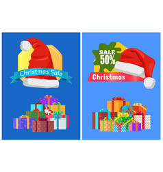 Christmas sale cards with sticker decorated by hat vector