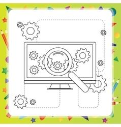 Coloring book computer - vector image vector image