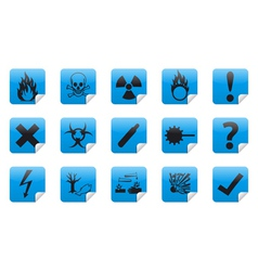 Danger sticker icon sign set vector