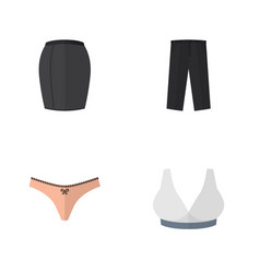 Flat icon dress set of pants lingerie stylish vector