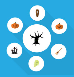 Flat icon halloween set of broom phantom vector
