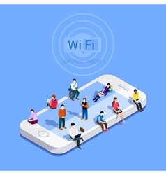Flat metaphor people in wi-fi zone vector